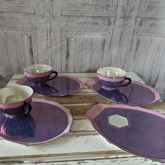 Vintage made in Czechoslovakia tea set plate metal